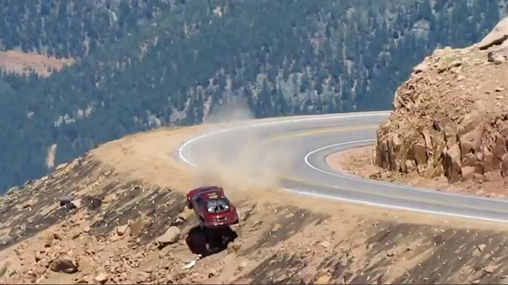 watch a racer drive off pikes peak car news bbc topgear magazine