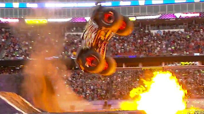 Watch: Monster truck's incredible double back flip