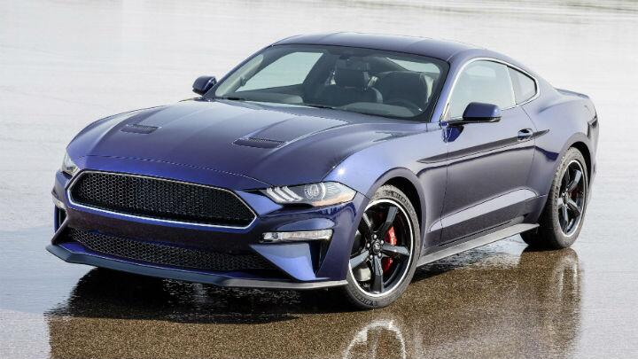 This is a Ford Mustang Bullitt that's been painted blue