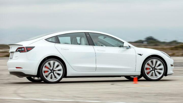 Sideways in a Tesla Model 3 Performance with Track Mode