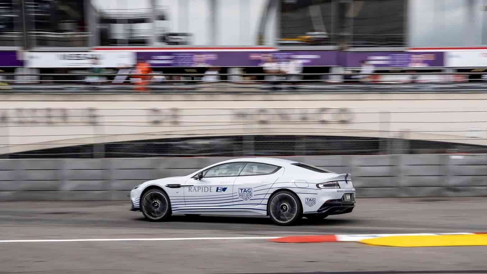 The Aston Martin Rapide E has raced around Monaco